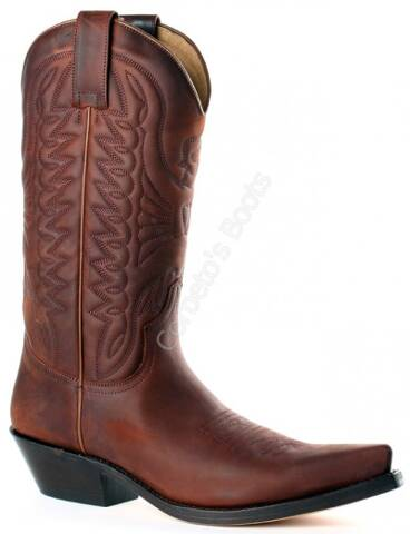 Mayura unisex greased brown leather cowboy boots