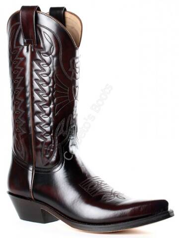 Mayura unisex shiny burgundy leather cowboy boots