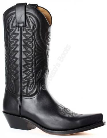 Mayura unisex black leather cowboy boots
