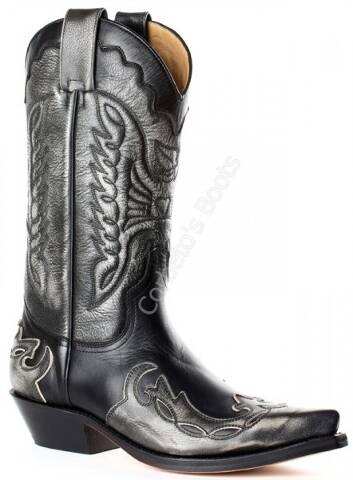 Mayura unisex combined ash and black leathers cowboy boots