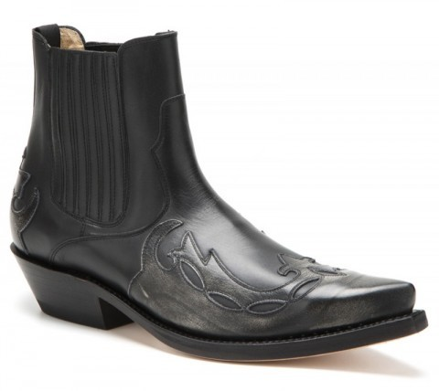 Mayura Boots unisex combined ash and black leather ankle cowboy boots
