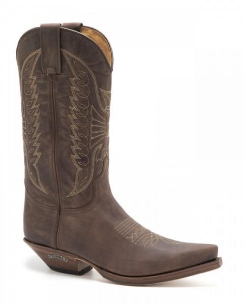 Greased dark brown leather Sendra classic Cuervo shape cowboy boots