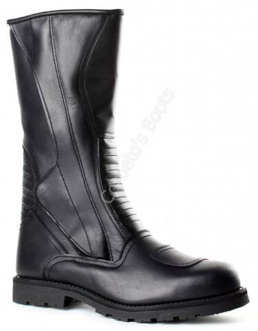 Mens black leather engineer boots with zipper
