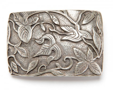 Molded flower scroll antique silver look unisex western belt buckle