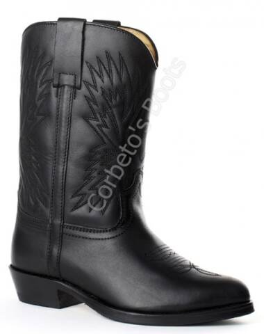 2314 Micky Pull Oil Negro | Sendra children black leather cowboy boots