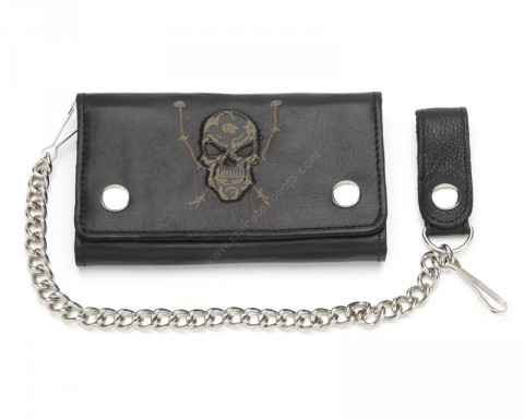 Black leather biker style chain wallet with embossed skull