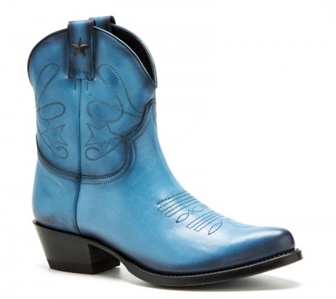 Low leg ladies blue cow leather Mayura western boots