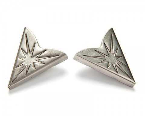 Antique silver metal collar tips with navajo shining star
