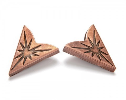 Copper tone metal collar tips with Native American engraving