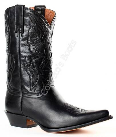 Buffalo Boots ladies black cow leather mid calf cowboy boots