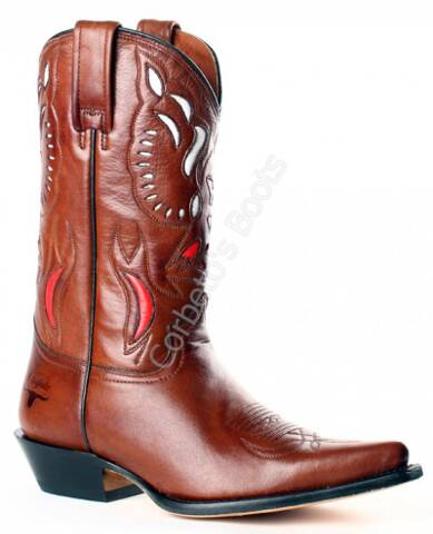 Buffalo Boots ladies brown cow leather mid calf cowboy boots