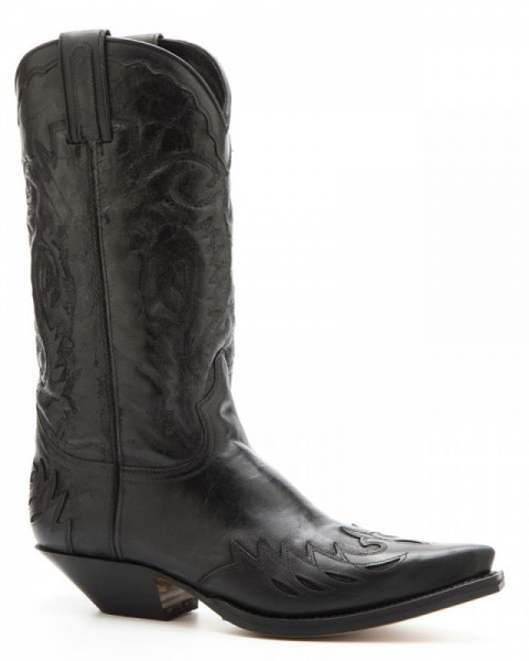 Mens tanned and crackled black leather Sendra Texan style boot