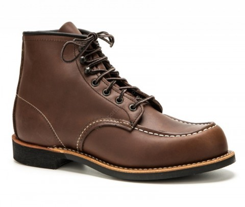 Red Wing mens brown leather laced work boots with Vibram rubber sole