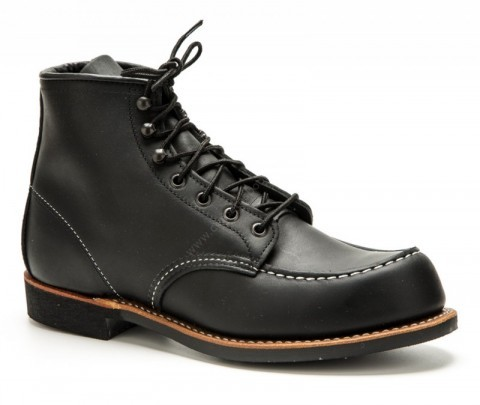 Red Wing Shoes black leather laced work boots with non slippery Vibram sole