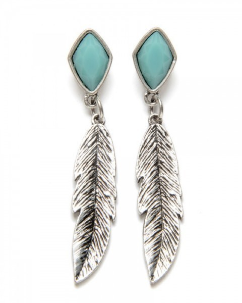 Cowgirl hanging feathers and blue decorative enamel earrings