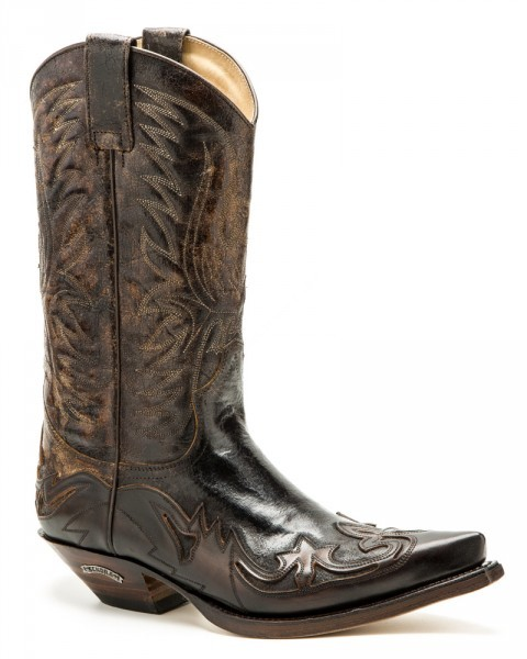 3241 Cuervo Natur Antic Jacinto-Barbados Quercia | Mens western & biker Sendra Boots made with distressed and shiny brown cow leather combination.