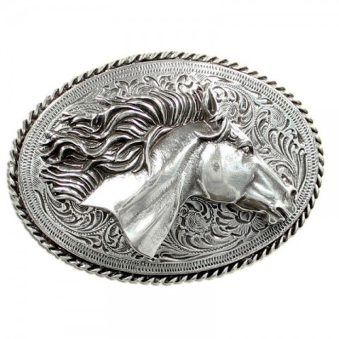Embossed horse head belt buckle