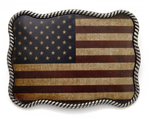 Vintage look United States colored stars and stripes flag belt buckle