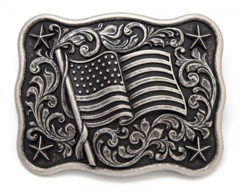 Poled waving USA flag with cowboy style scrolls distrssed metal belt buckle