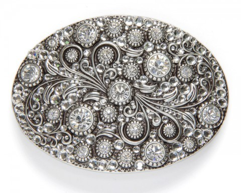 Large size western style ladies belt buckle with filigrees and big rhinestones