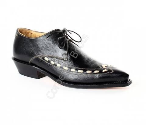 Sendra mens black leather cowboy shoe