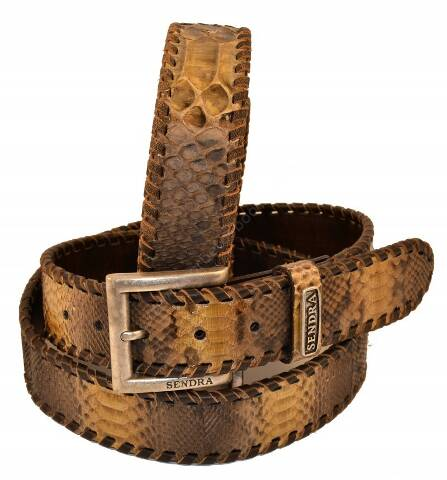 Sendra Boots python skin belt with leather braid
