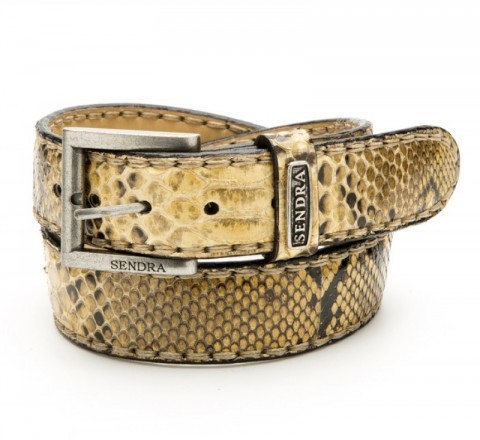 Cowboy fashion Sendra yellow genuine python skin belt