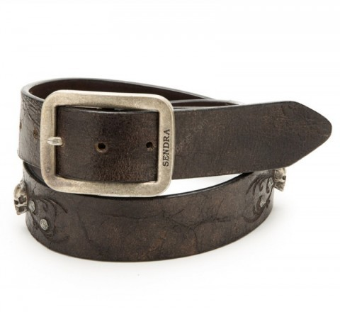 Sendra vintage brown leather belt with biker metallic skulls