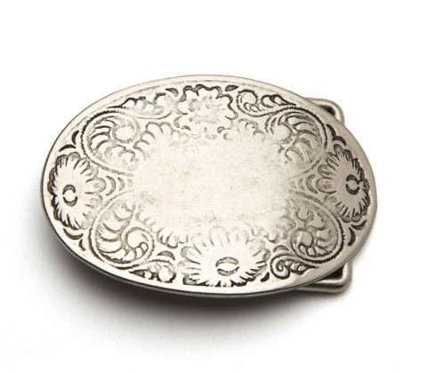Sendra Boots worn out looking flower filigree belt buckle