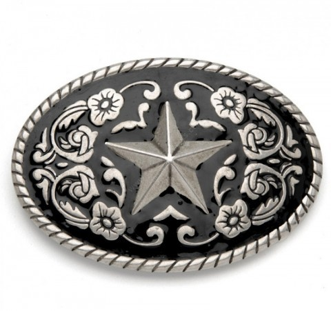 Sendra Boots ranger star black enamel belt buckle