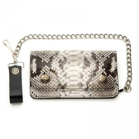 Sendra biker chain wallet with natural belly python skin