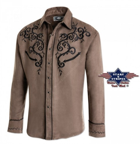Stars & Stripes mens khaki / brown velvet touch western shirt