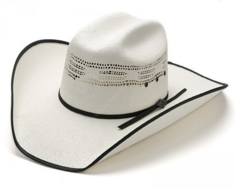 Unisex white fretwork straw cowboy hat with black brim edge