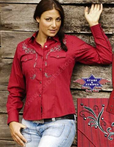 Stars & Stripes red cowgirl long sleeve shirt with black thin stripes and embroideries