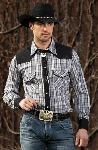 Stars & Stripes mens grey plaid western shirt