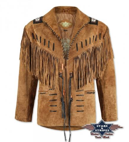 Stars & Stripes brown suede western jacket with fringes