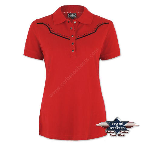 50-CAITLIN | Stars & Stripes womens red polo shirt with western yoke