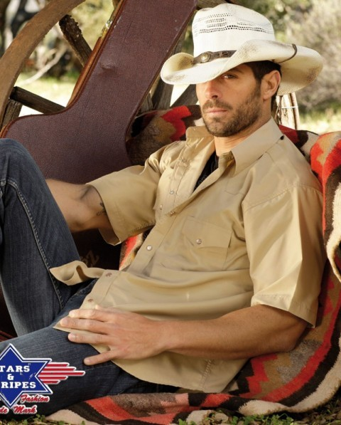 Stars & Stripes mens camel short-sleeved western shirt