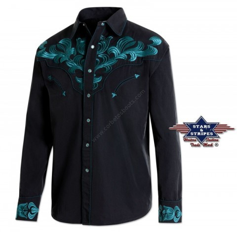 Stars & Stripes mens cowboy shirt dark blue embroidery