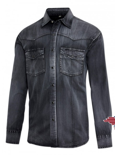 Grey denim cowboy mens shirt with embroidered steer skull
