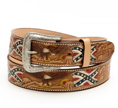 Stars & Stripes Confederate flag cow leather belt