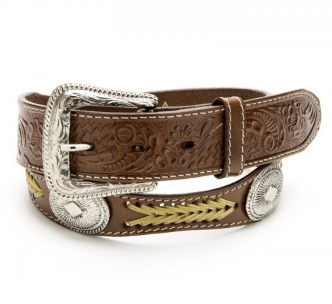 Stars & Stripes brown leather belt with conchos and braid