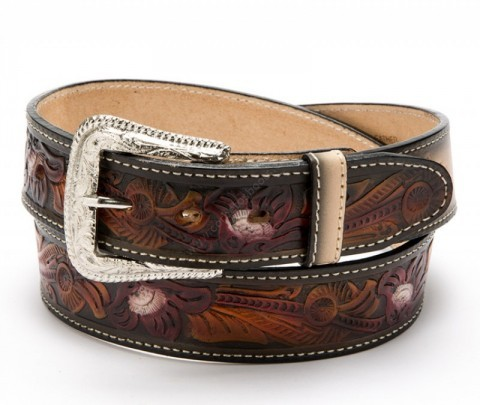 Unisex multicolor cowide western style belt with embossed flower filigrees