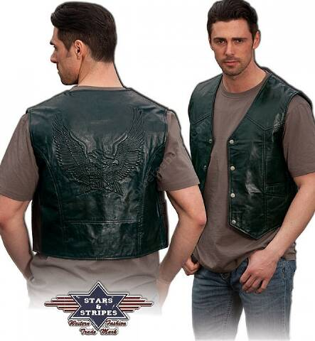 Stars & Stripes mens black leather waistcoat with embosed eagle