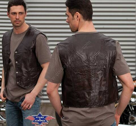 Stars & Stripes mens brown leather vest with embossed  eagle