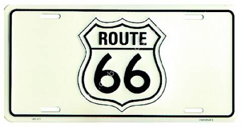Route 66 signal white license plate