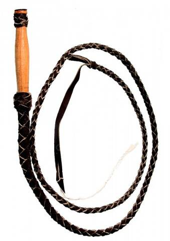 Brown braided leather whip