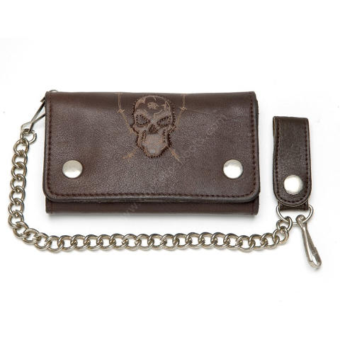 Brown leather biker style chain wallet with embossed skull