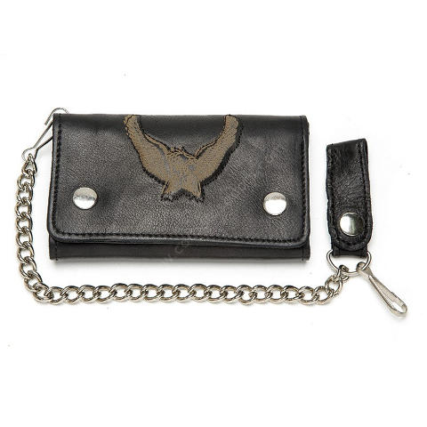 Black leather biker style chain wallet with embossed eagle