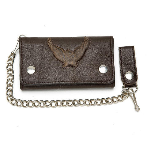 Brown leather biker chain wallet with embossed eagle